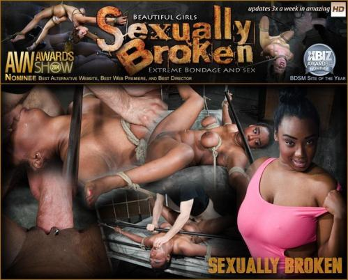 SexuallyBroken.com [Curvy Lisa Tiffian bound down in rope onto bed and roughly fucked by 2 cocks, epic BBC deepthroat!] SD, 540p