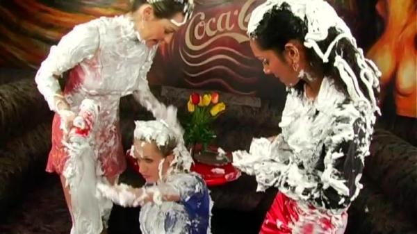 Anabel, Godessa Del Gabo and Virus Vellons - Shaving Cream Shenanigans (SD, 540p) [Softcore, Brunette, Pornstars, Lesbians]