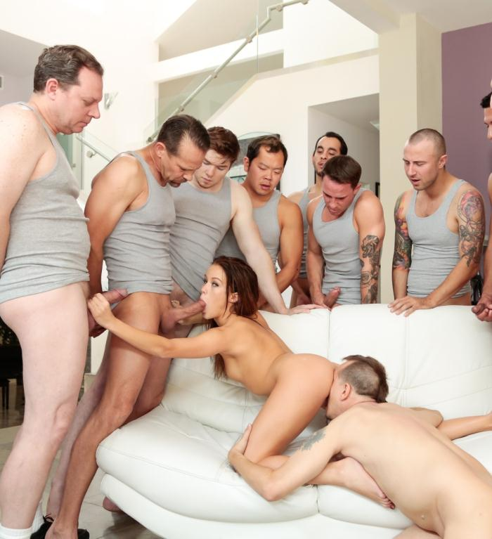 Hard - Megan Rain - 10 Guy Blowbang  [HD 720p]