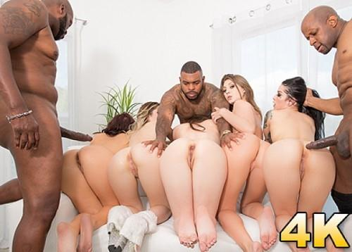 Casey Calvert, Goldie Rush, JoJo Kiss, Katrina Jade, Keisha Grey - Interracial Orgy Buffet - Lex And Friends Order Up White Girl Anal, DP, Facials And More! [SD, 360p]
