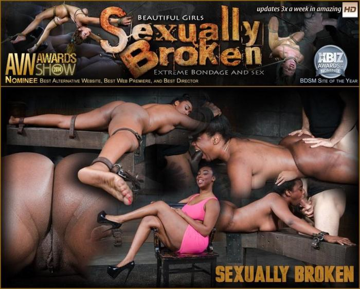 SexuallyBroken.com - Big butt beauty Lisa Tiffian belt bound ass up face down and taken from both ends by two dicks! (BDSM) [HD, 720p]