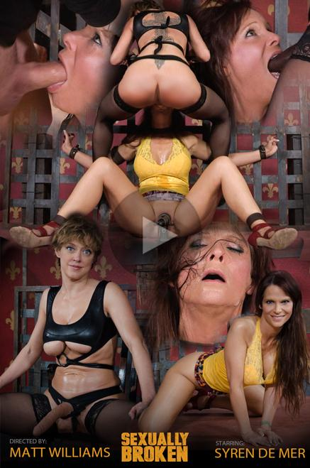 SexuallyBroken.com - Syren De Mer - Hot Cougar is bound, face fucked and made to cum over and over. Brutal deep throat, massive orgasms! (BDSM) [HD, 720p]