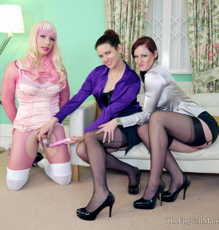 TheEnglishMansion: Miss Vivienne lAmour, Ms Savannah Sly, Tiffany Real Doll - Spanked Stretched Sissy  [HD 720p]  (Femdom)