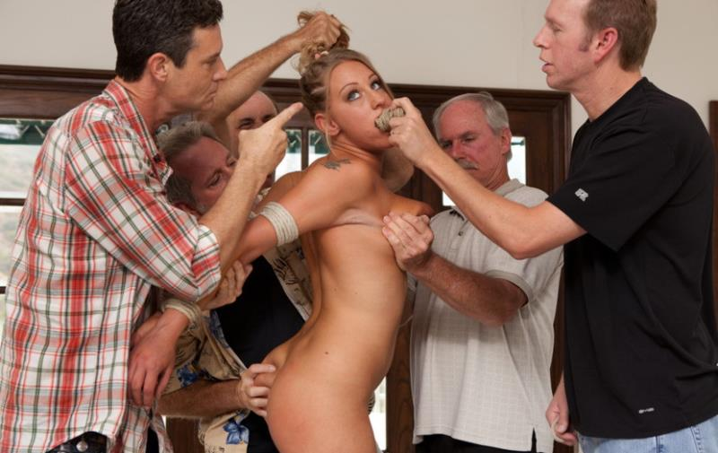 BoundGangBangs - Lizzy London - 19 Year Old With Big Natural Tits Gets Dicked Down by 5 Older Men [2011 HD]