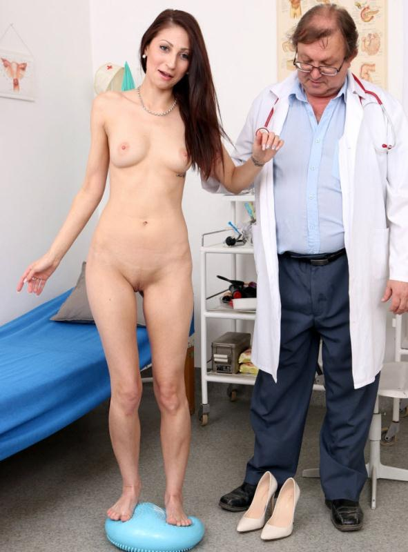 image Horny brunette doctor gets fucked by her 2 patient monster cocks during her work time damm