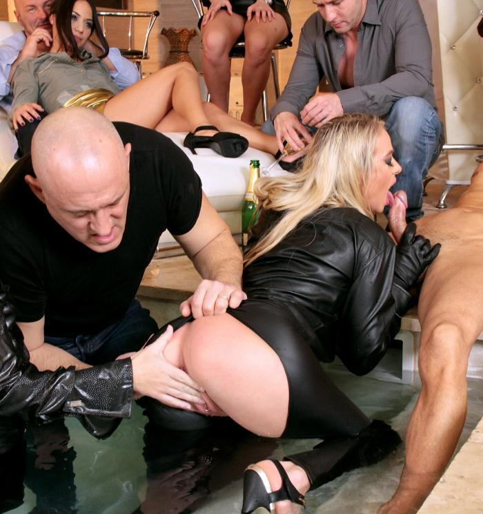 SinDrive - Tiffany Dol, Dorina Golden, Nomi Melone  - Fully Leathered Blondie Bangs Poolside - Excessive Partying With Hailing Pals And Nasty Gals: Ready For Action! [HD 720p]