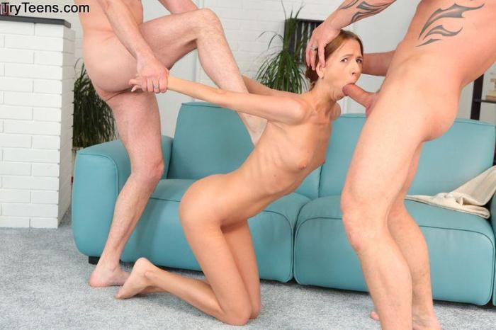 TryTeens.com - Paris Devine - Hard Anal Fuck (Group sex) [SD, 576p]