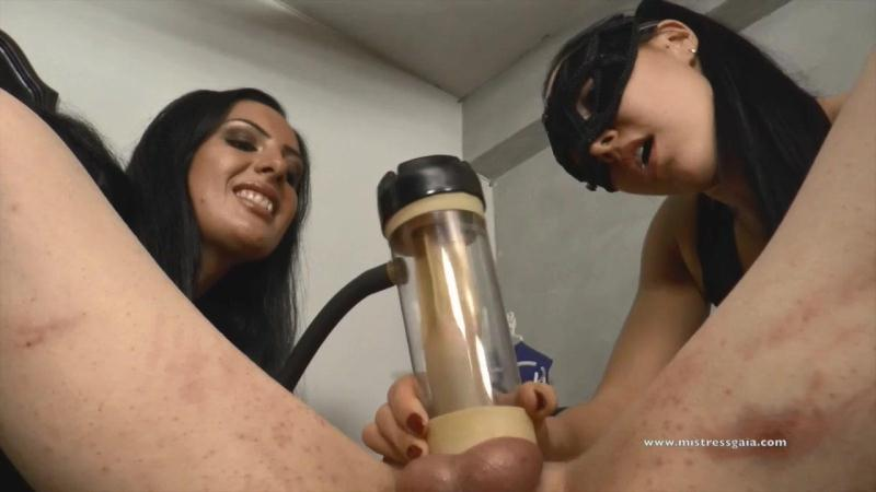 MISTRESS G@I@ and EZ@D@ - Impotent slave tormented with the milking machine [Clips4sale / HD]