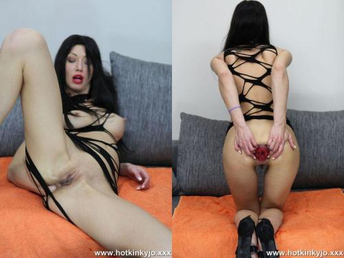 Hotkinkyjo.xxx [Hot kinky jo - Self fisting in string dress] HD, 720p