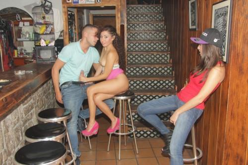 Frida Sante, Melody Petite - Spunky Spanish threesome at the bar (18.07.2016) [SD/480p/MP4/512 MB] by XnotX