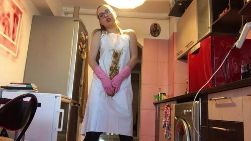 Teeen Girl - Rubber gloves and PVC apron - Solo [FullHD, 1080p] [Scat] - Extreme Porn