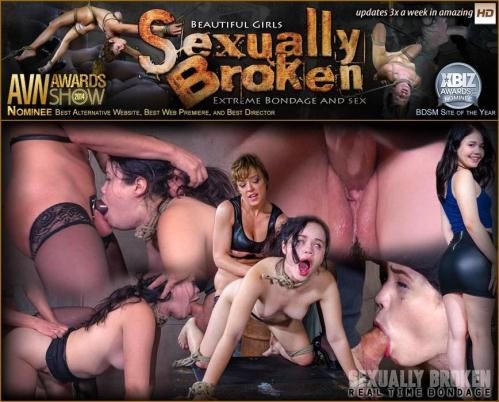 SexuallyBroken.com/RealTimeBondage.com [Yhivi Tied to Box and Fucked From Both Ends By Couple!] HD, 720p