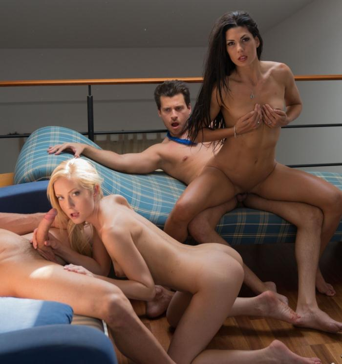 LosConsoladores/PornDoePremium: Sicilia, Alexa Tomas - Hardcore cuckolding foursome with hot Spanish and Hungarian wives  [SD 480p]  (Threesome)