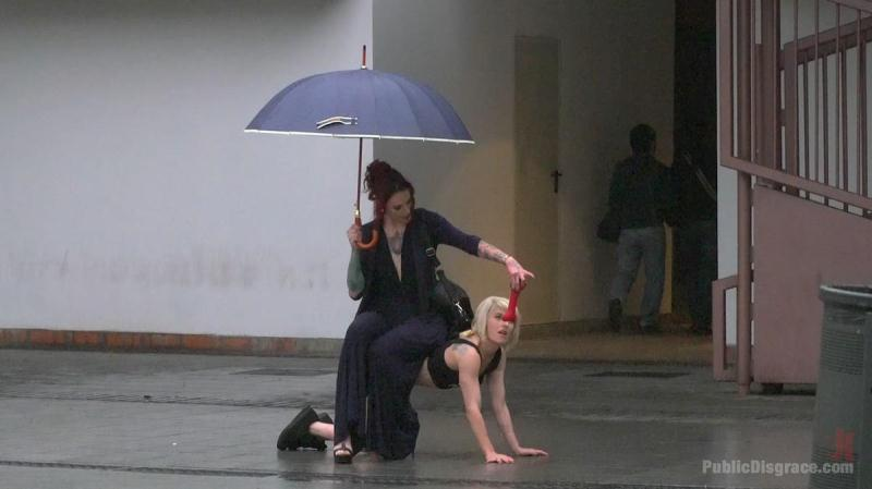Nora Barcelona & Silvia Rubi (Eager Bitch Spanked And Flogged In The Rain! - Part 1 / 15.08.2016) [PublicDisgrace, K1nk / HD]