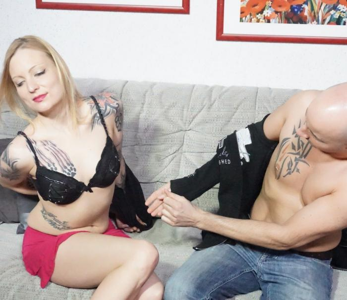SextapeGermany/PornDoePremium: Asuran, Kitty Blair - Tattooed German blonde jumps up and down a dick in amateur couple sex tape  [SD 480p] (295 MiB)