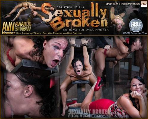 SexuallyBroken.com/RealTimeBondage.com [London River Struggles In Bondage While Being Fucked, Swallowing Cock and Cumming!] HD, 720p