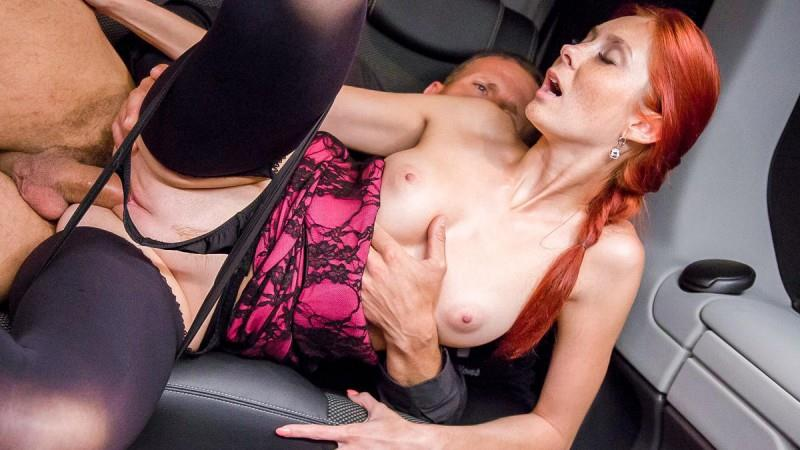 Kattie Gold - Czech redhead Kattie Gold gets fucked wildly on the backseat of a car (27.08.2016) [PornDoePremium / SD]
