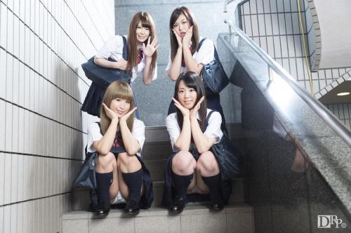 10Musume.com [Yuka Uehara, Hana Saki, Natsukawa Meg, Hotsuki Natsume - Group Sex With A School Girls] SD, 540p