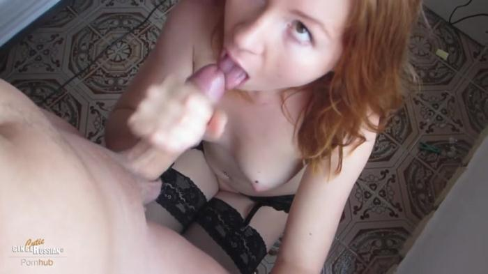 Redhead Russian Teen Sucking Huge Cock while Self-Masturbating in Lingerie (Webcam) [HD, 720p]