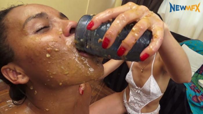 Pizza it\'s over, eat scat - Vomit - Extreme Lezdom (Scat Porn) FullHD 1080p