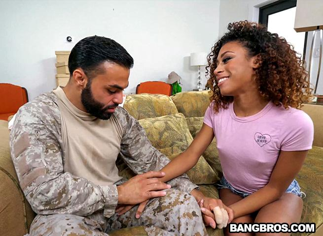 Br0wnBunn13s.com/B4ngBr0s.com - Kendall Woods - Fucking For Our Troops (Teen, Ebony) [SD, 480p]