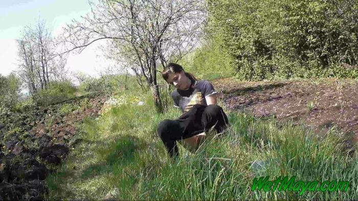Pissing in grass on the side of the road FullHD 1080p