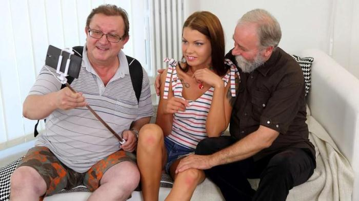 OldGoesYoung.com - Sofia Like showing old tourists the way to her pussy (Threesome, Teen) [SD, 480p]