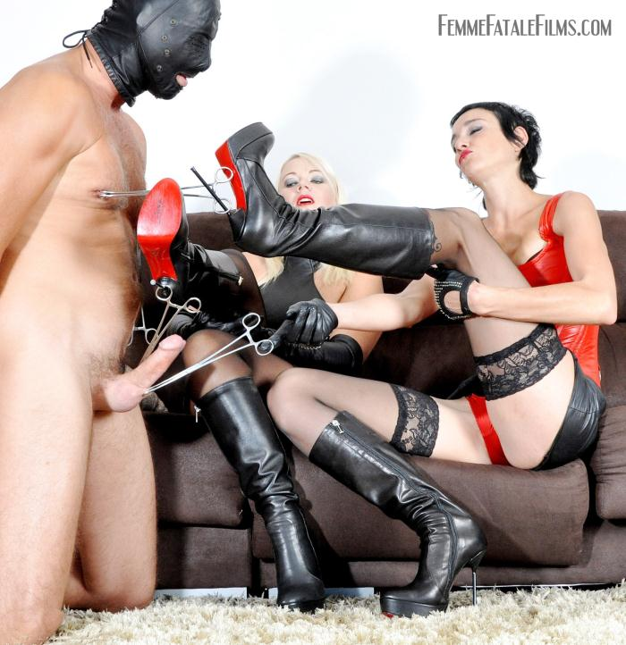 FemmeFataleFilms: Divine Mistress Heather, Lady Sara Volts - Boot Domination  [HD 720p]  (Femdom)