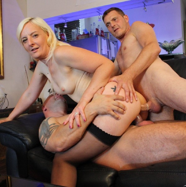 LaCochonne.com - Candys, Fabrice Triple X, Richard Langin - Slutty mature French blondie gets Dp and eats cum in steamy Mmf threesome [FullHD 1080p]