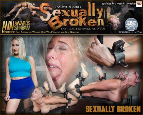 SexuallyBroken.com [Big titted Blond MILF is H0gT13d and face fucked into oblivian. Tight bondage, deep throat, Orgasms!] HD, 720p
