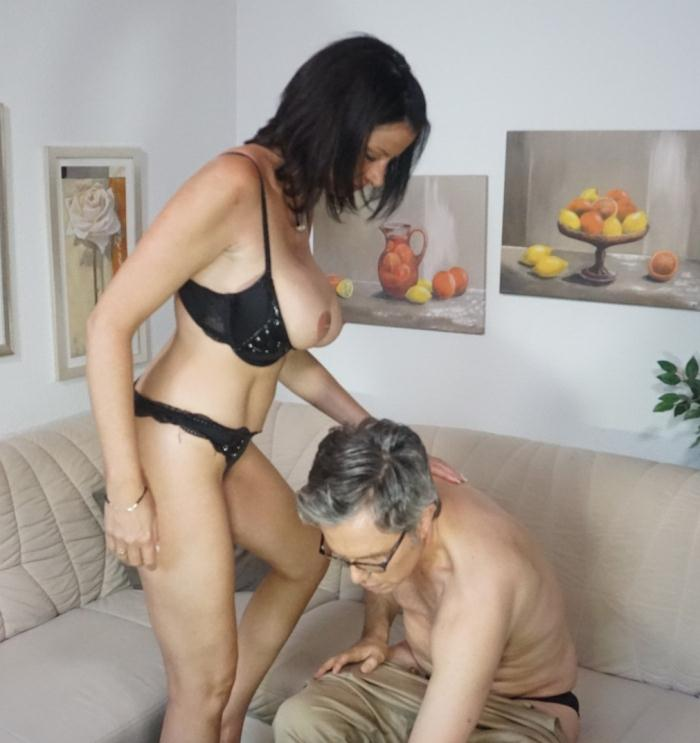 Dacada - Brunette silicone-titted German mature slut sucks a dick before riding it  [HD 720p]