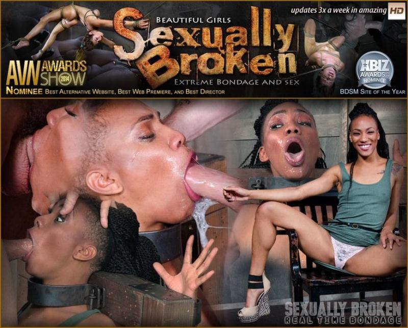 SexuallyBroken.com: Nikki Darling is throat overloaded as two big cocks face fuck her into subspace. Metal Bondage [SD] (156 MB)