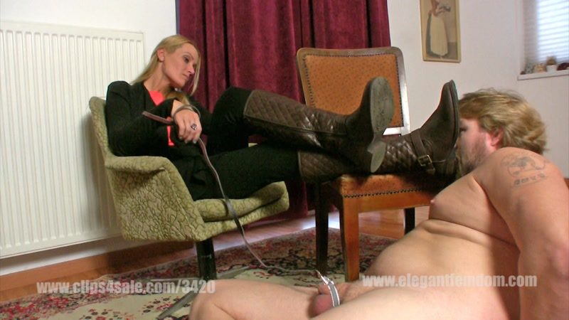 Demona - Boot licking with cbt [ElegantFemdom, Clips4sale / FullHD]