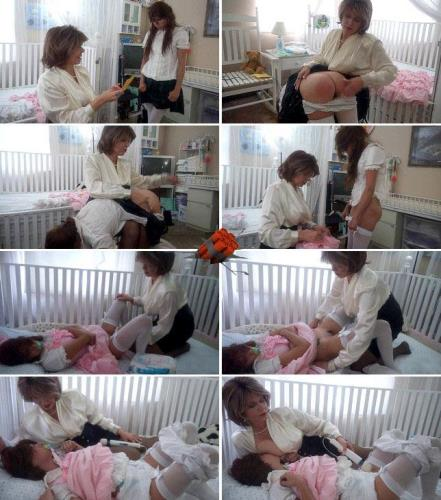 Mommy�s diapered schoolgirl gets spanking punish  [HD 720p]