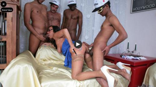 [Laura Rey - Busty pornstar gets fucked by four guys] SD, 480p