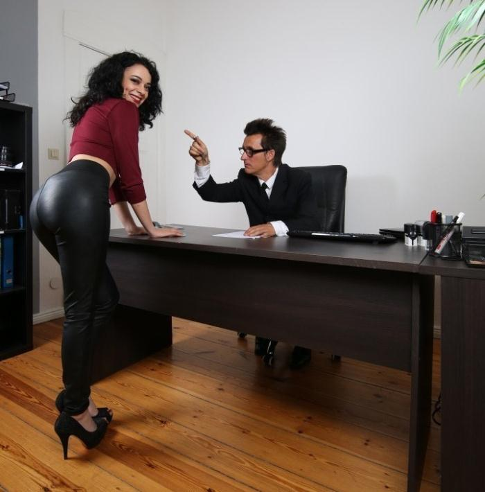 Khadisha Latina - Gorgeous black haired babe eats boss cum in raunchy German office fuck  [HD 720p]