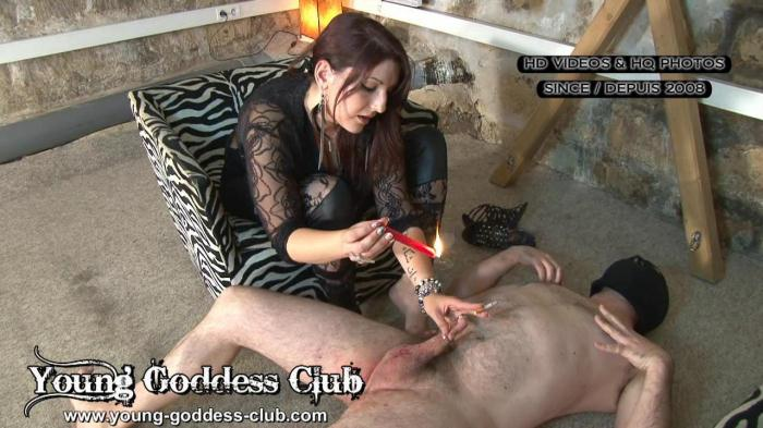 young-goddess-club.com - UNDERGROUND DUNGEON - MAN BITCH TRAINING (Femdom, Smoking) [HD, 720p]