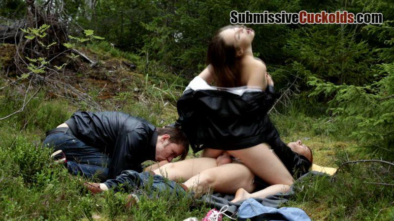 (Femdom / WMV) Mistress Margaret - Threesome Outdoors SubmissiveCuckolds.com - HD 720p