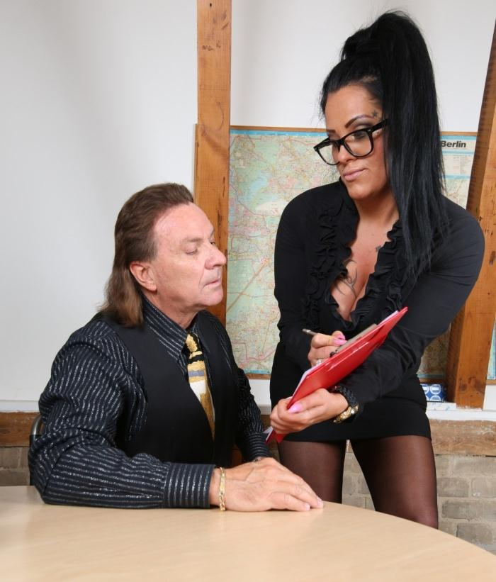 Ashley Cumstar - Busty MILF secretary gives titjob and eats cum in hot German office fuck  [HD 720p]