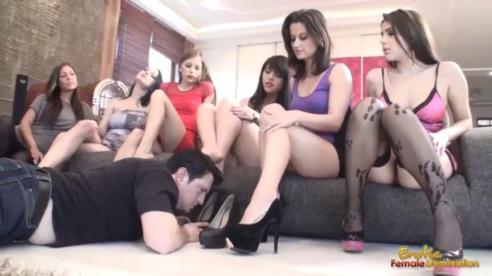 Six Mistresses Get Their Feet Sniffed By Submissive Man (Eroticfemaledomination) HD 720p