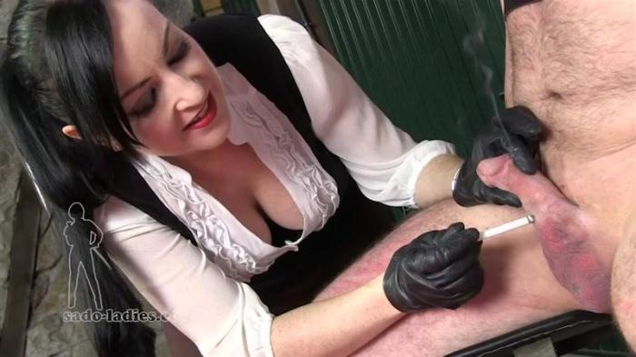 Sado-ladies.com - Cock Torture - Ashtray For Her Pleasure (Smoking, Femdom) [HD, 720p]