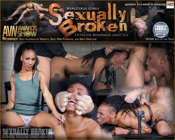 Nikki Darling, Matt Williams, Sergeant Miles - Nikki Darling gets plowed from both ends with huge cock. Helpless and cumming! - SexuallyBroken.com (SD, 540p) [BDSM, Bondage, Ebony]