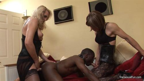 Transexualfun.com [Shemale Mistress with another shemale and black sub guy] HD, 720p