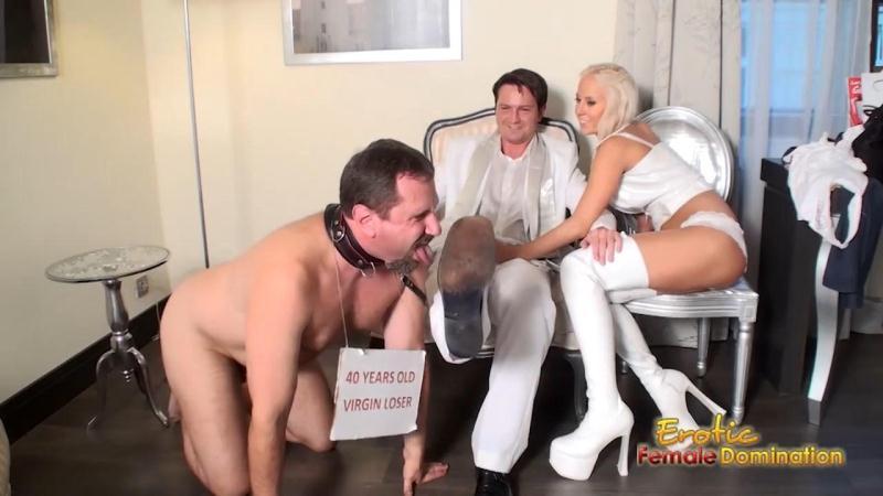 Eroticfemaledomination.com: Cuckold Virgin Loser Licks Off Bull's Shoes While Wife Jerking Off Bull's Dick [HD] (159 MB)
