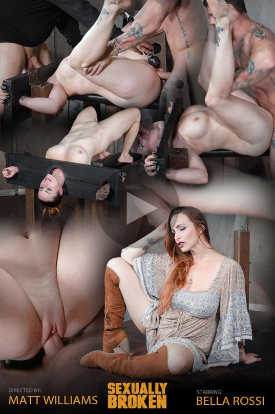 SexuallyBroken.com: Bella Rossi bound in stocks, brutally face fucked upside down and roughly fucked to orgasms! [HD] (508 MB)