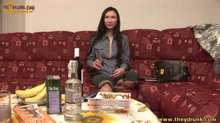Cute drunken Russian-speaking Asian Suong plays with bananas, vanities panties in pussy - Part 3 HD 720p