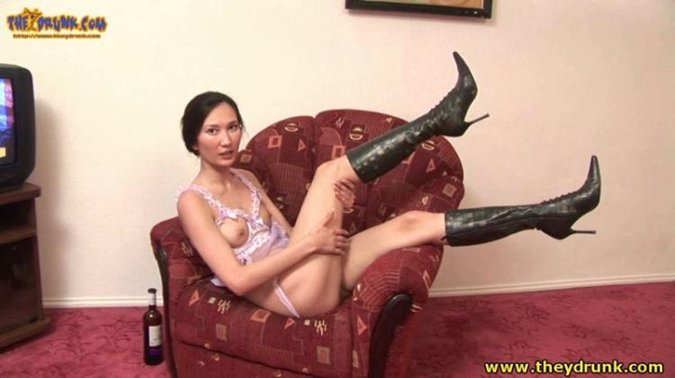 Cute drunken Russian-speaking Asian Suong plays with bananas, vanities panties in pussy - Part 2 / 2016 [Drunken Russian Girl / HD]