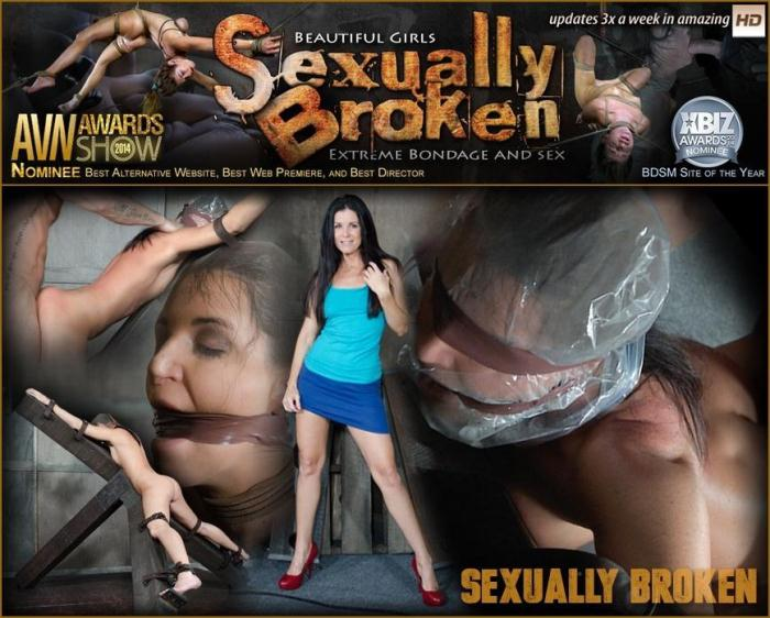 Hot MILF India Summer's is strapped to and 'X' frame, hooded, gagged, and brutally fucked! (SexuallyBroken) SD 540p