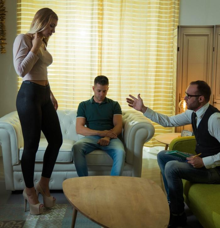 Haley Hill - Serbian blonde Haley Hill fucks her partner at their therapists office  [HD 720p]