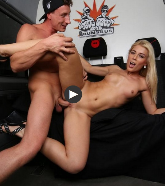 BumsBus - Sweet Cat  - Cum in mouth after blonde Czech rides both a German bus and a cock  [SD 480p]